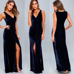 Lulus crushin' It Navy Blue Velvet Maxi Dr…